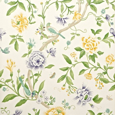 Sanderson Tapet Porcelain Garden Lemon/Leaf Green