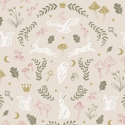 Hibou Home Tapet Woodland Wonders Dusty Pink/Olive