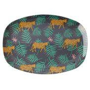 Rice Tallrik Oval Leopard & Leaves