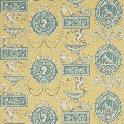 Sanderson Tapet Roman Toile Lemon/Blue/Alabaster