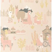 Majvillan Tapet Lama Village Light Sunny pink