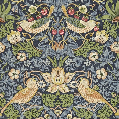 William Morris & Co Tapet Strawberry Thief Indigo/Mineral