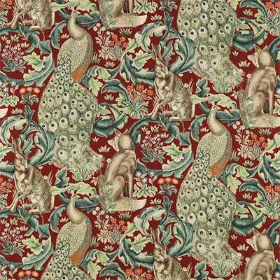 William Morris & Co Tyg Forest Red