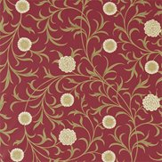 William Morris & Co Tyg Scroll Rasberry/Olive