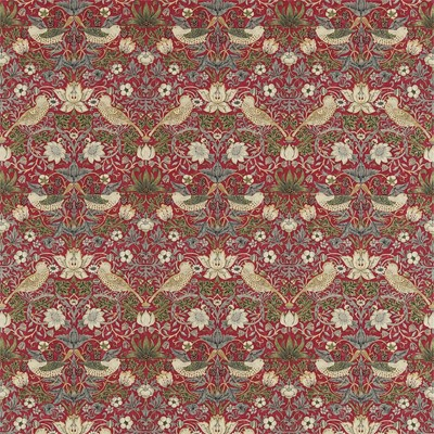 William Morris & Co Tyg Strawberry Thief Crimson/Slate