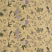 GP & J Baker Tyg Oriental Bird Embroidery Silk Antique